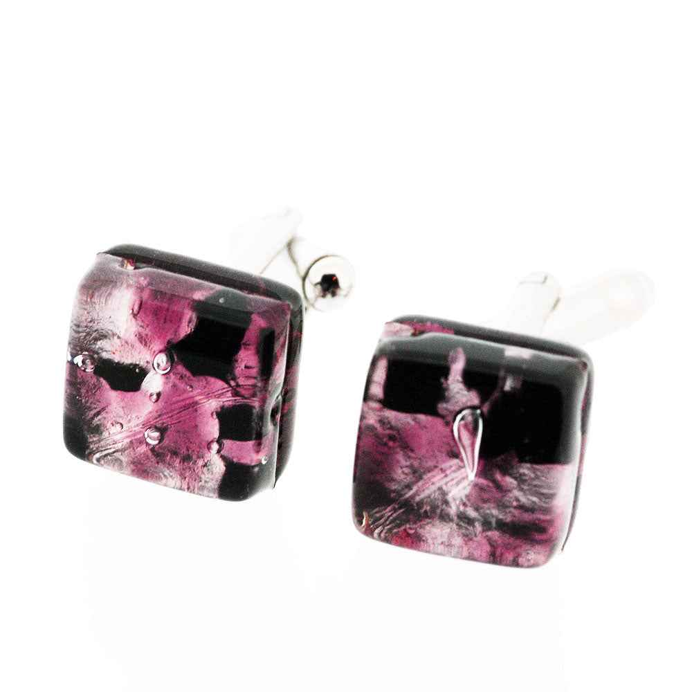 Venetian Murano Glass Pink and Silver Cufflinks