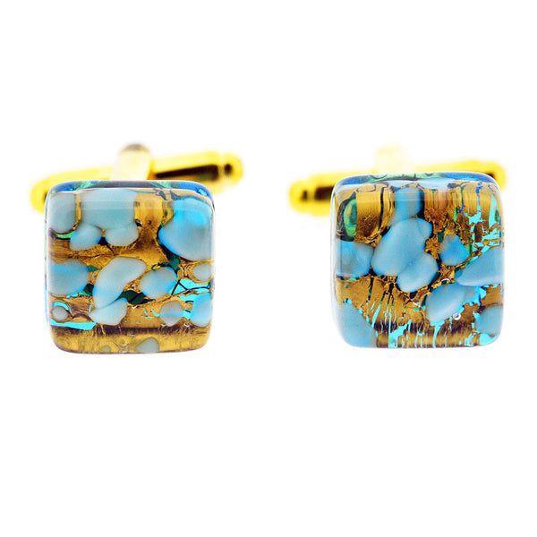 Venetian Murano Glass Turquoise and Gold Cufflinks