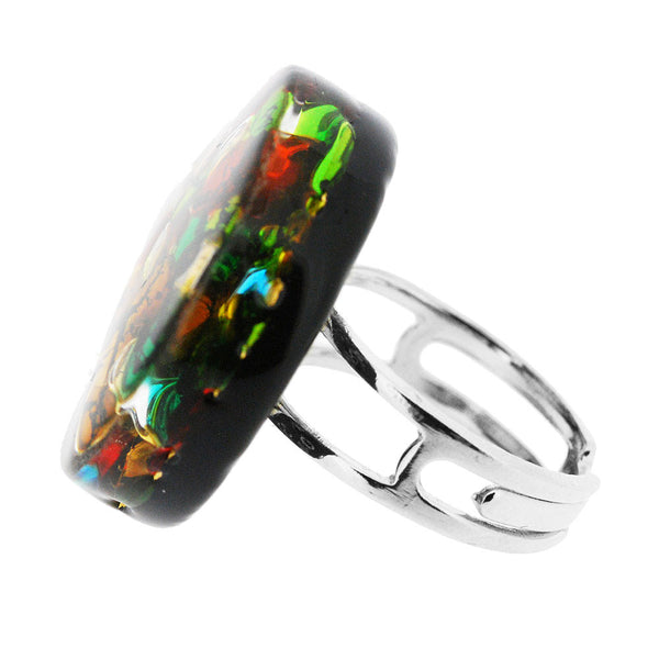Venetian Murano Glass Multicolour and Gold Adjustable Round Ring