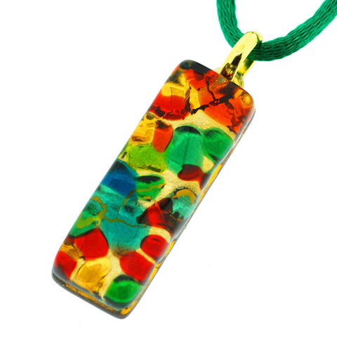 Venetian Murano Multicolour and Gold Rectangle Pendant Necklace