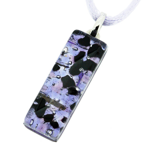 Venetian Murano Lilac and Silver Rectangle Pendant Necklace