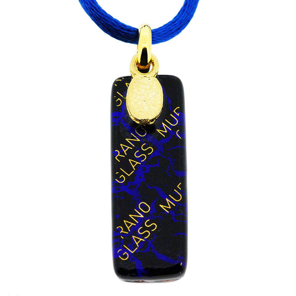 Venetian Murano Royal Blue and Gold Rectangle Pendant Necklace