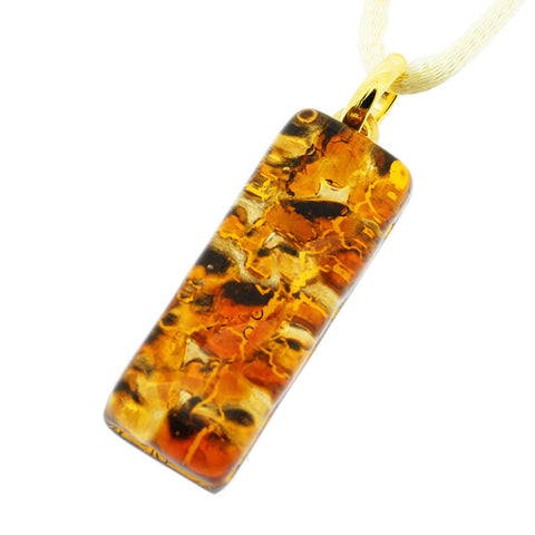 Venetian Murano Amber and Gold Rectangle Pendant Necklace
