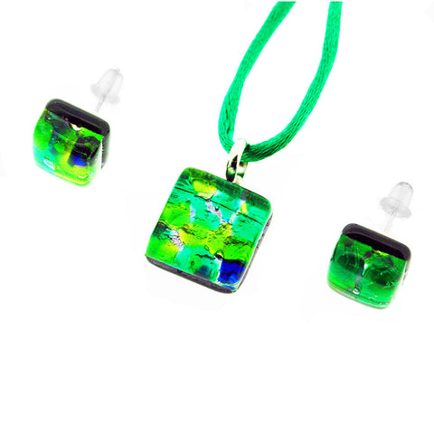 Venetian Murano Glass Green and Silver Pendant and Earrings Jewellery Set