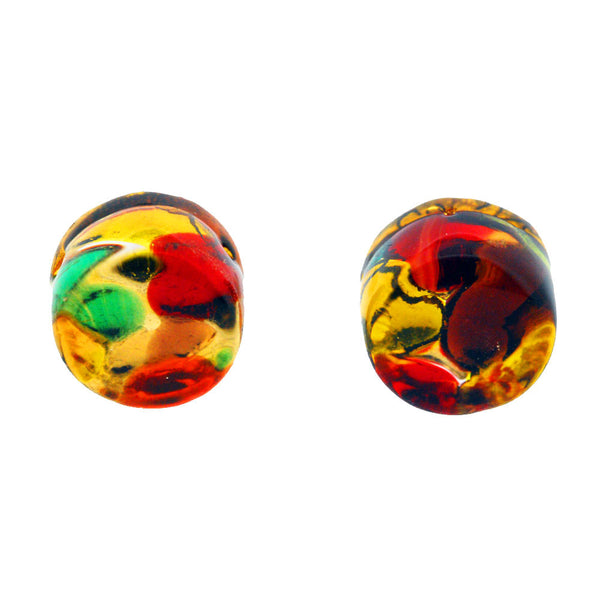 Venetian Murano Glass Multicolour and Gold Round Earring Studs