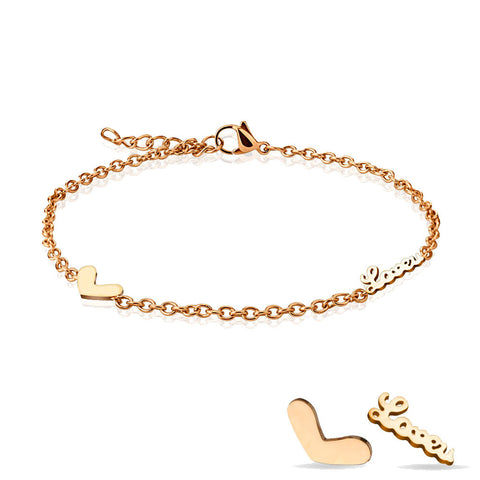 Love U Heart Charm Rose Gold Plated Adjustable Anklet