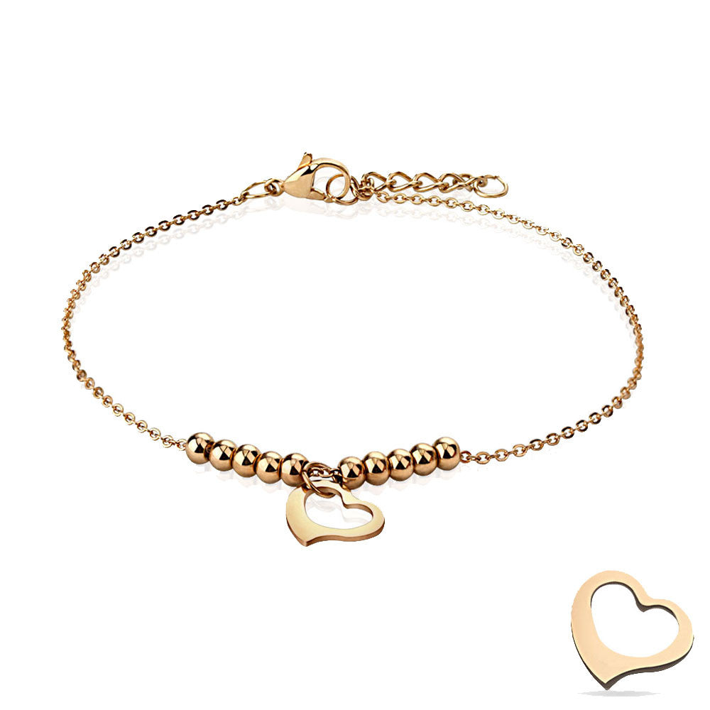 Curved Heart and Beads Rose Gold Plated Adjustable Anklet