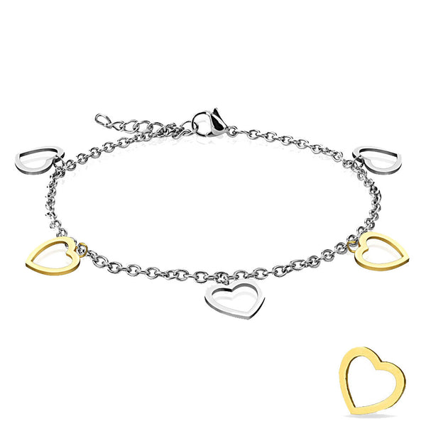 Silver and Gold Hearts Gold Plated Adjustable Anklet