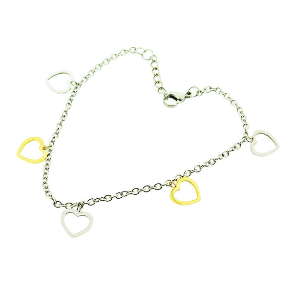Silver and Gold Hearts Gold Plated Charm Adjustable Anklet