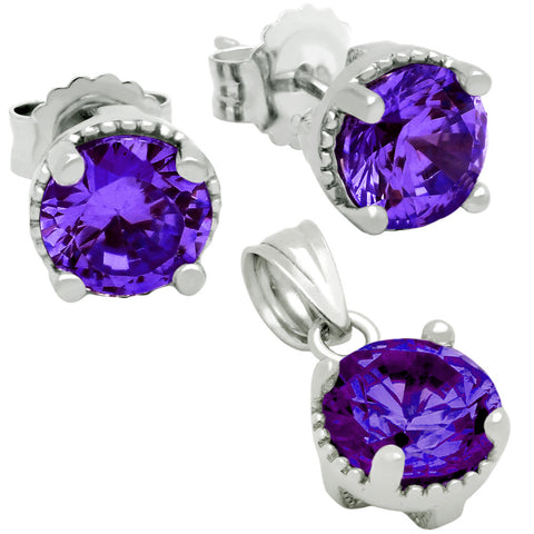 February Birthstone Sterling Silver Amethyst Purple CZ Pendant and Earrings Set