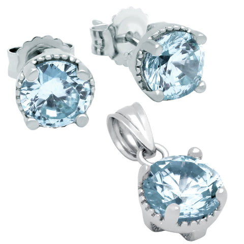 March Birthstone Sterling Silver Aquamarine Blue CZ Pendant and Earrings Set