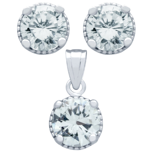 April Birthstone Sterling Silver Clear CZ Pendant and Earrings Set