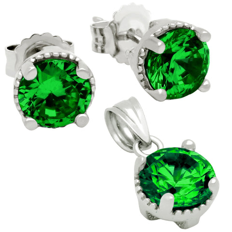 May Birthstone Sterling Silver Emerald Green CZ Pendant and Earrings Set