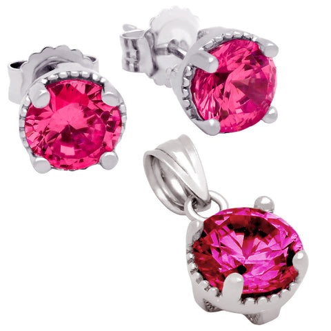 July Birthstone Sterling Silver Ruby Red CZ Pendant and Earrings Set