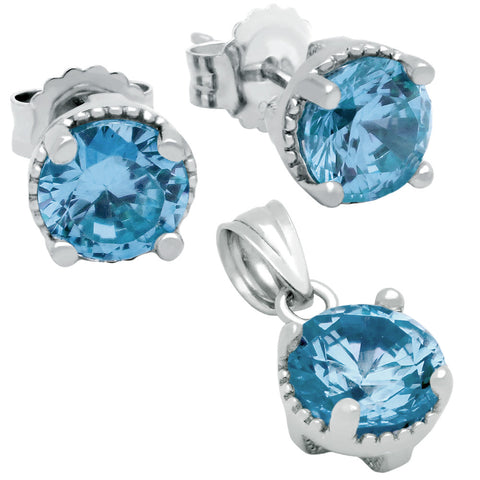 December Birthstone Sterling Silver Topaz Blue CZ Pendant and Earrings Set