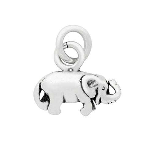 Sterling Silver High Polish Baby Elephant Charm for Bracelets and Necklaces