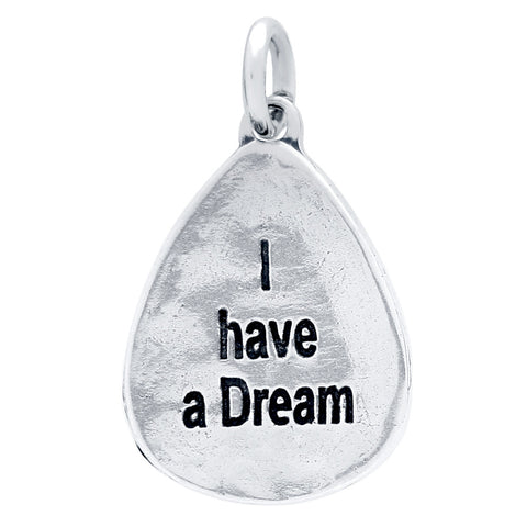 Sterling Silver High Polish I Have A Dream Double Sided Charm for Bracelets and Necklaces