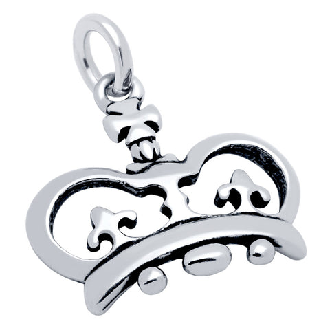 Sterling Silver High Polish Crown Charm for Bracelets and Necklaces