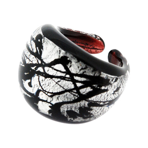 Venetian Murano Black and Silver Swirl Foil Ring