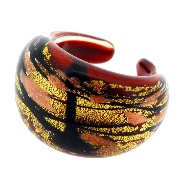 Venetian Murano Red Black and Gold Swirl Foil Ring