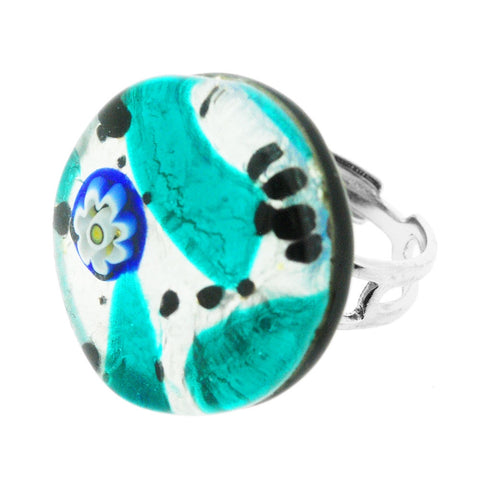 Venetian Murano Aqua and Silver Adjustable Round Ring