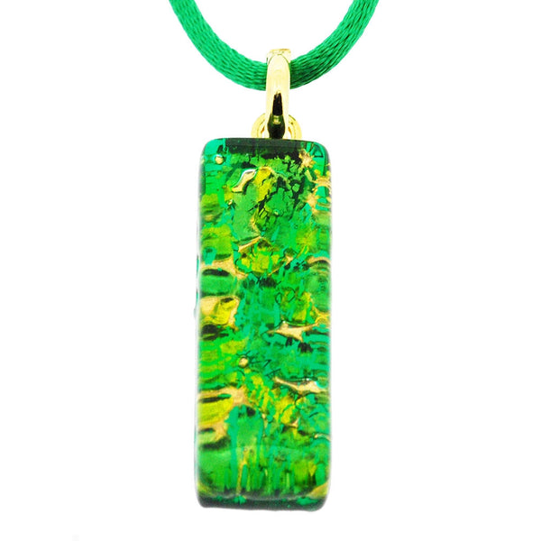 Venetian Murano Contemporary Green and Gold Rectangle Pendant Necklace