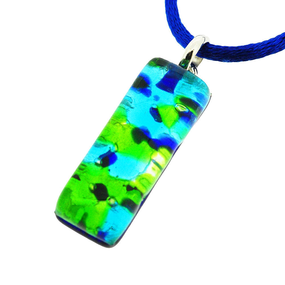 Venetian Murano Contemporary Blue and Green Speckle Rectangle Pendant Necklace