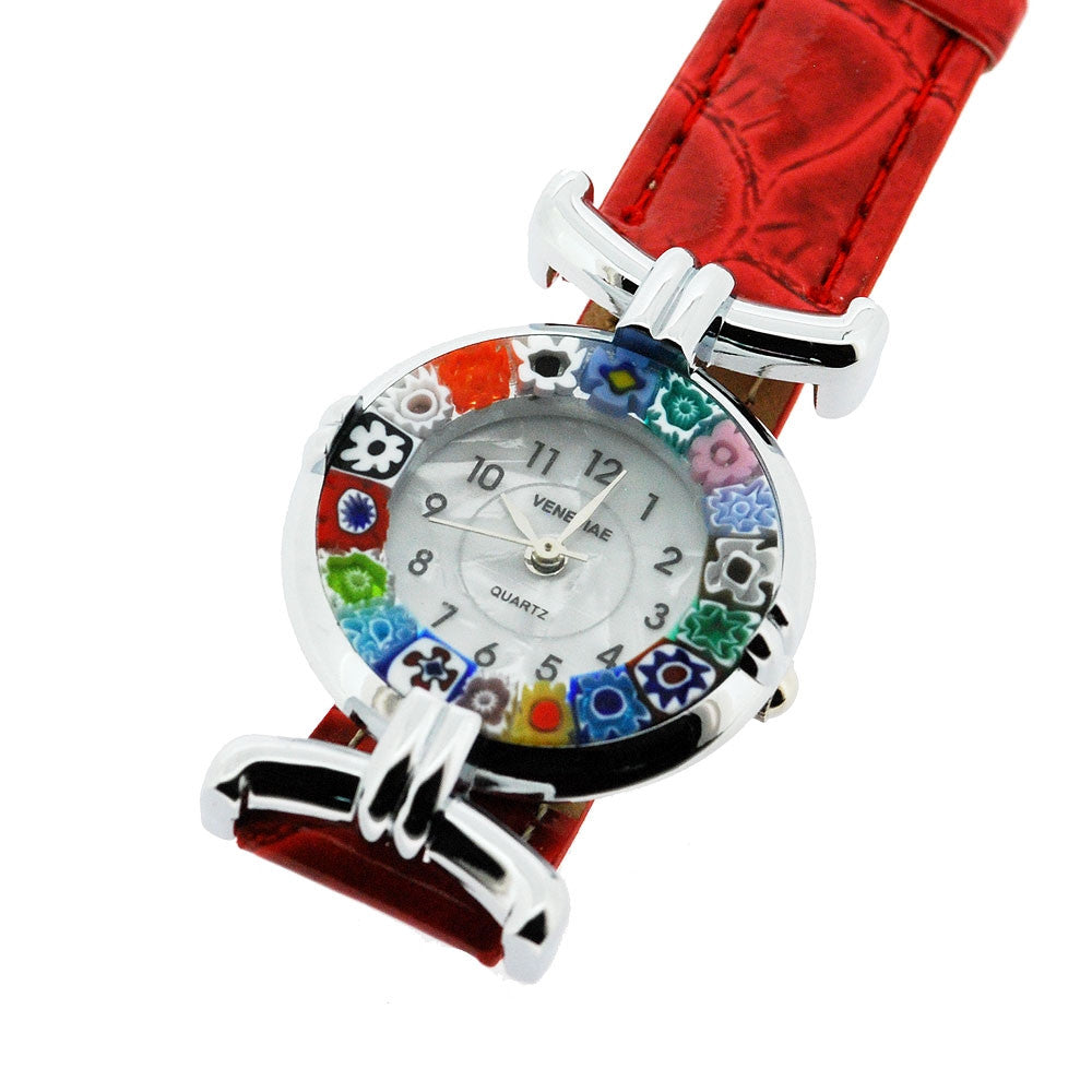 Venetian Murano Millefiori Ladies Quartz Watch with Red Leather Strap