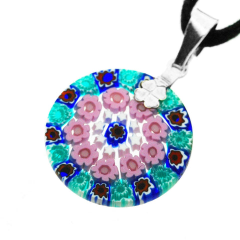 Venetian Millefiori Pink and Green Flowers Sterling Silver Pendant Necklace