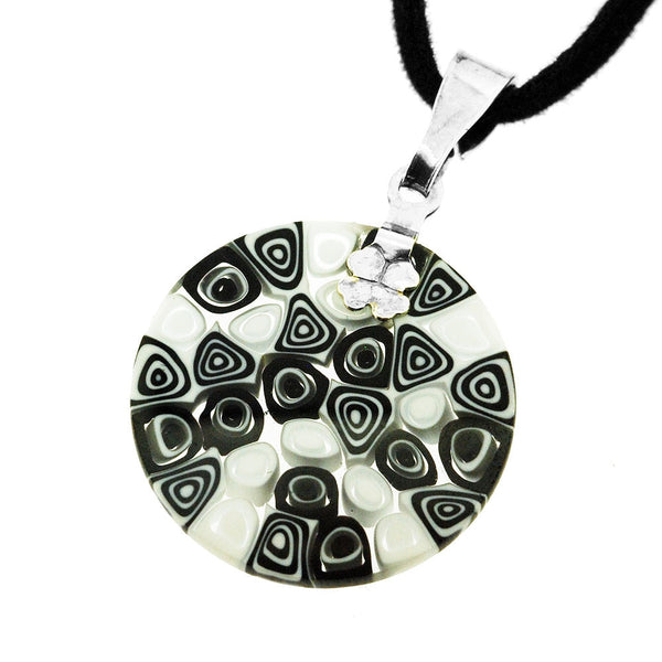 Venetian Millefiori Black and White Circles Sterling Silver Pendant Necklace
