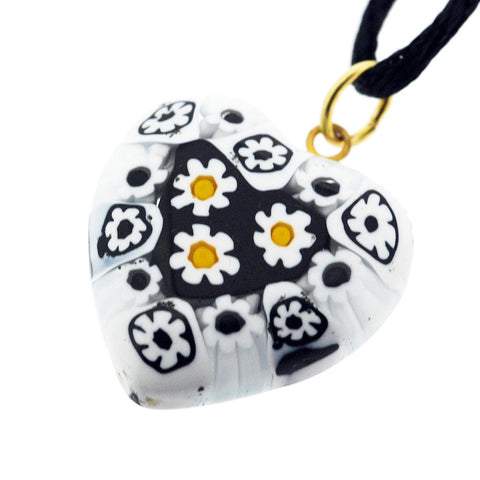 Venetian Murano Millefiori Black and White Daisies Heart Pendant Necklace