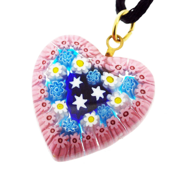 Venetian Murano Millefiori Pink With Daisies Heart Pendant Necklace