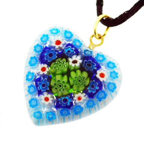 Venetian Murano Millefiori Light Blue with Green Daisies Heart Pendant Necklace