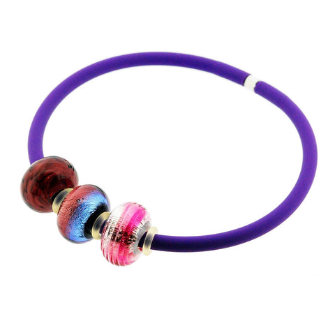 Venetian Murano Glass Three Bead Charm Bangle in Purple