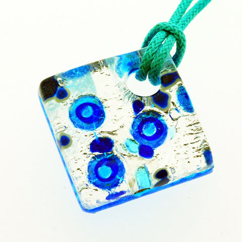 Venetian Murano Glass Silver and Blue Circles Pendant Necklace