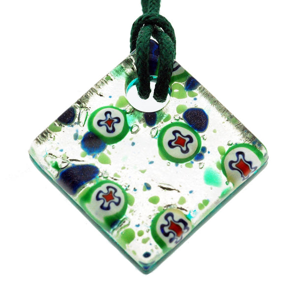 Venetian Murano Glass Silver and Green Circles Pendant Necklace