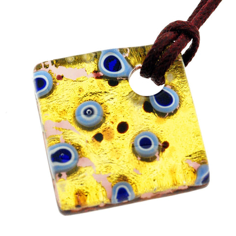 Venetian Murano Glass Gold and Evil Eye Pendant Necklace