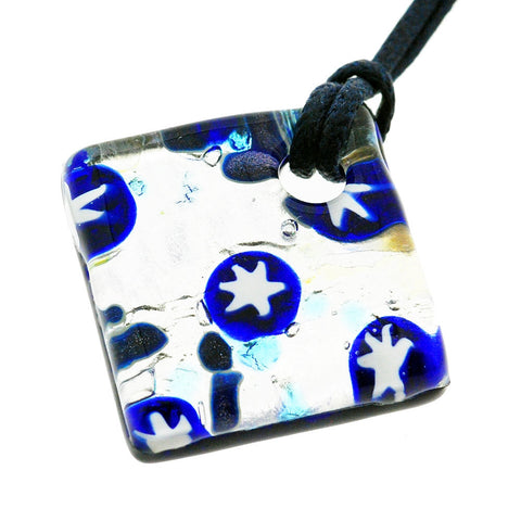 Venetian Murano Glass Silver and Blue Stars Pendant Necklace