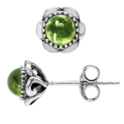 August Birthstone Sterling Silver Cabochon Peridot Stud Earrings