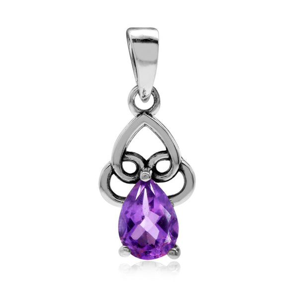 February Birthstone Sterling Silver Amethyst Filigree Heart Drop Pendant Necklace