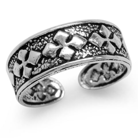Sterling Silver Diamond Pattern Adjustable Toe Ring