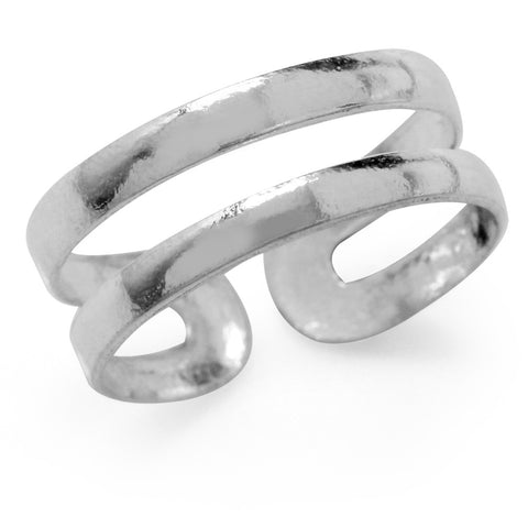 Sterling Silver Curved Double Band Adjustable Toe Ring