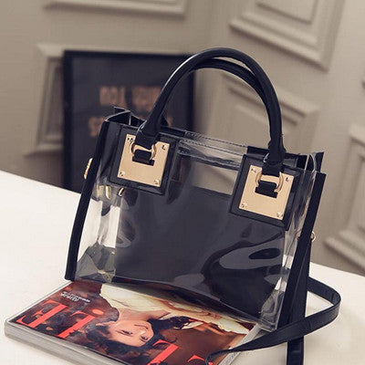 94bec26e5f Transparent Tote Bag Women s Handbag Crystal Large Beach Bags Candy Color  Jelly Bags Girls Waterproof Big Shoulder Casual Bags