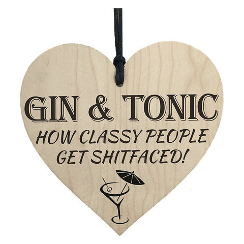 """Gin & Tonic"" Heart Shaped Wall Plaque/Sign"