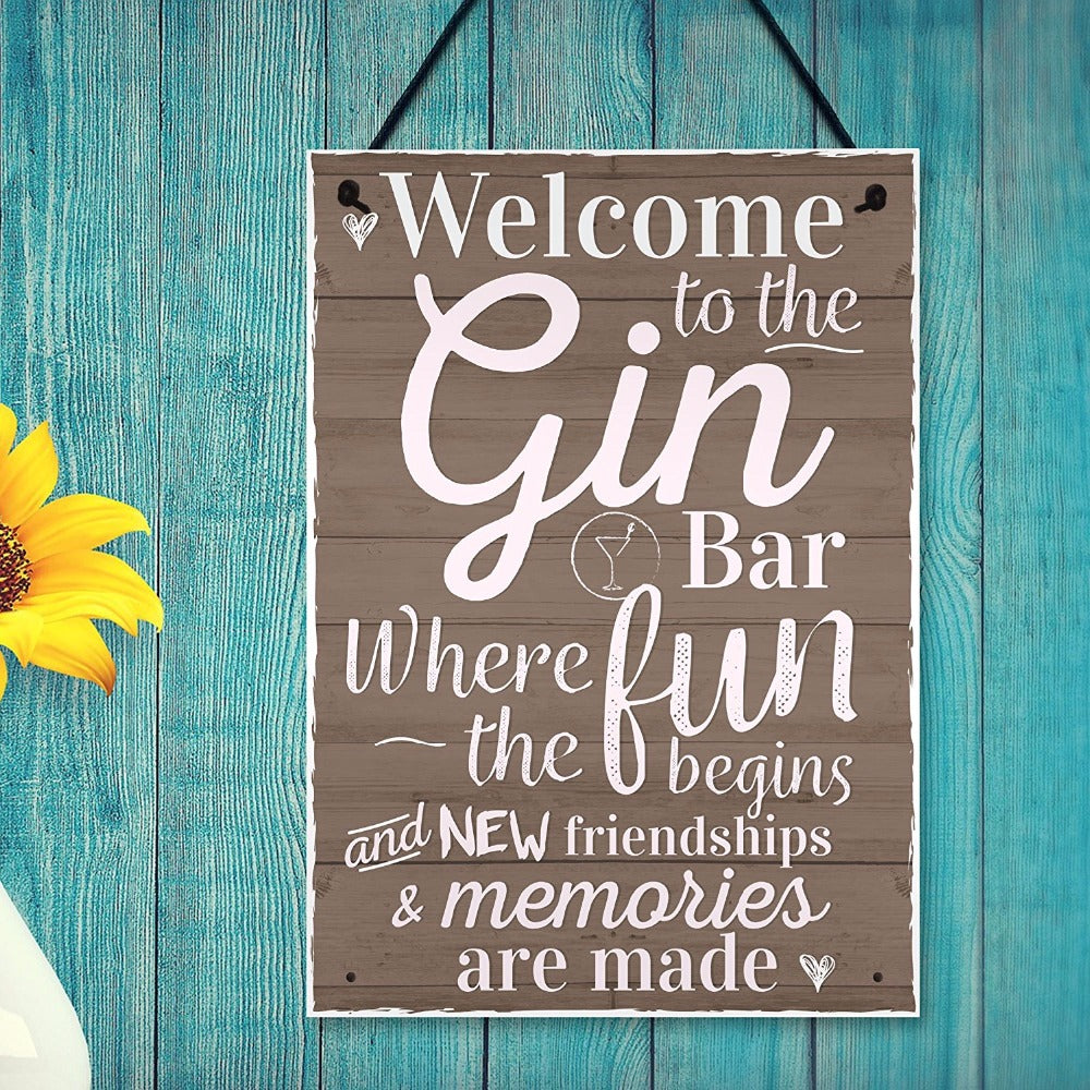 """Gin Bar"" Hanging Plaque 8.3""x 11.7"""