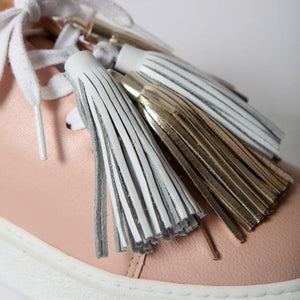 Leather Sneakers with Tassels: Lightning Pink