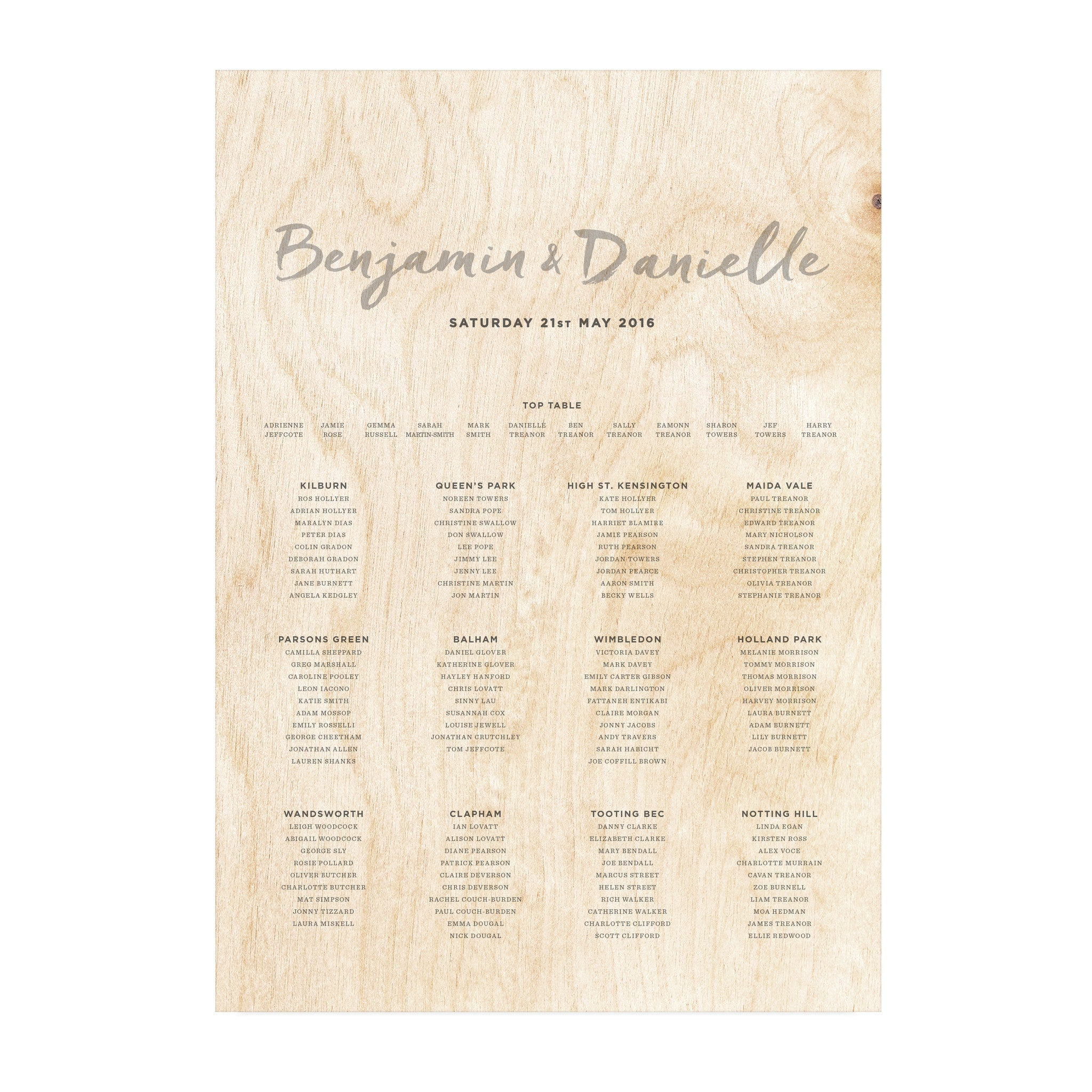 A2 wooden wedding table plan