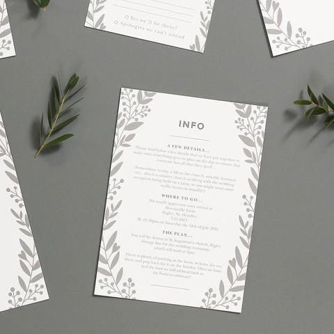 Nordic Foliage Wedding Information Cards