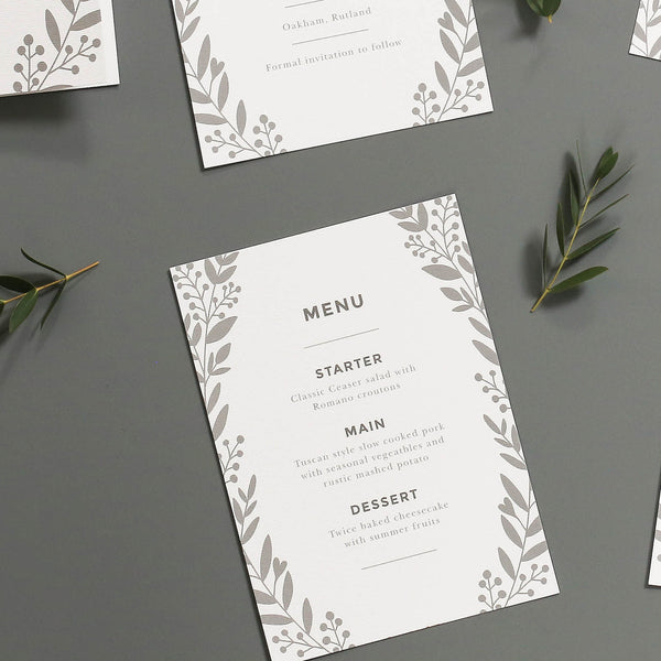 Nordic Foliage Wedding Menu