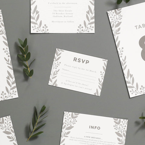 Nordic Foliage Wedding Invitations RSVP Cards